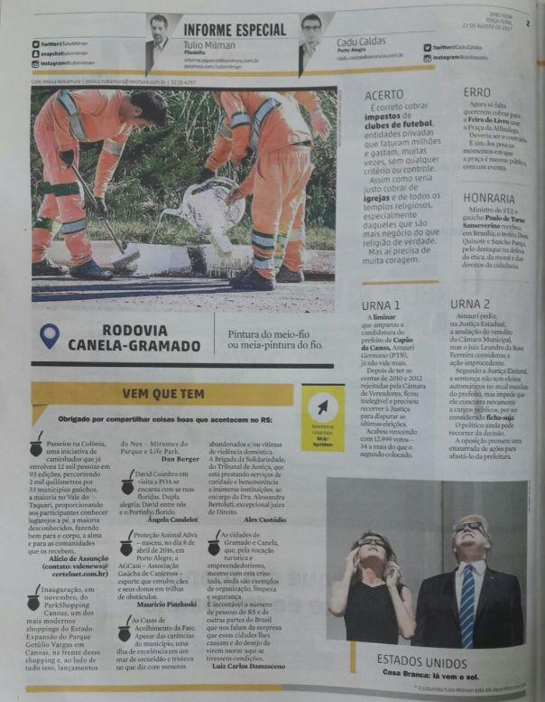 2017 ago Jornal Zero Hora 22.08.17 2